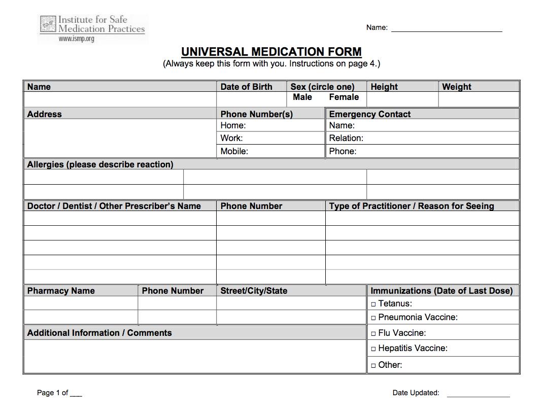 Universal Medication Doctor Prescription Form Template PDF