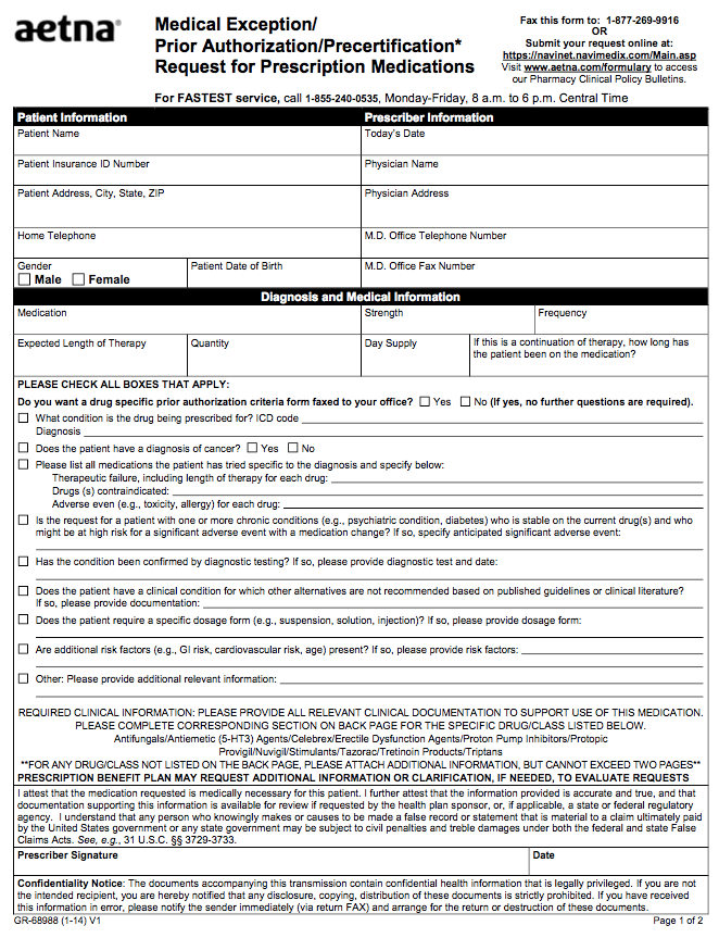 Precertification Request for Doctor Prescription Drugs Template