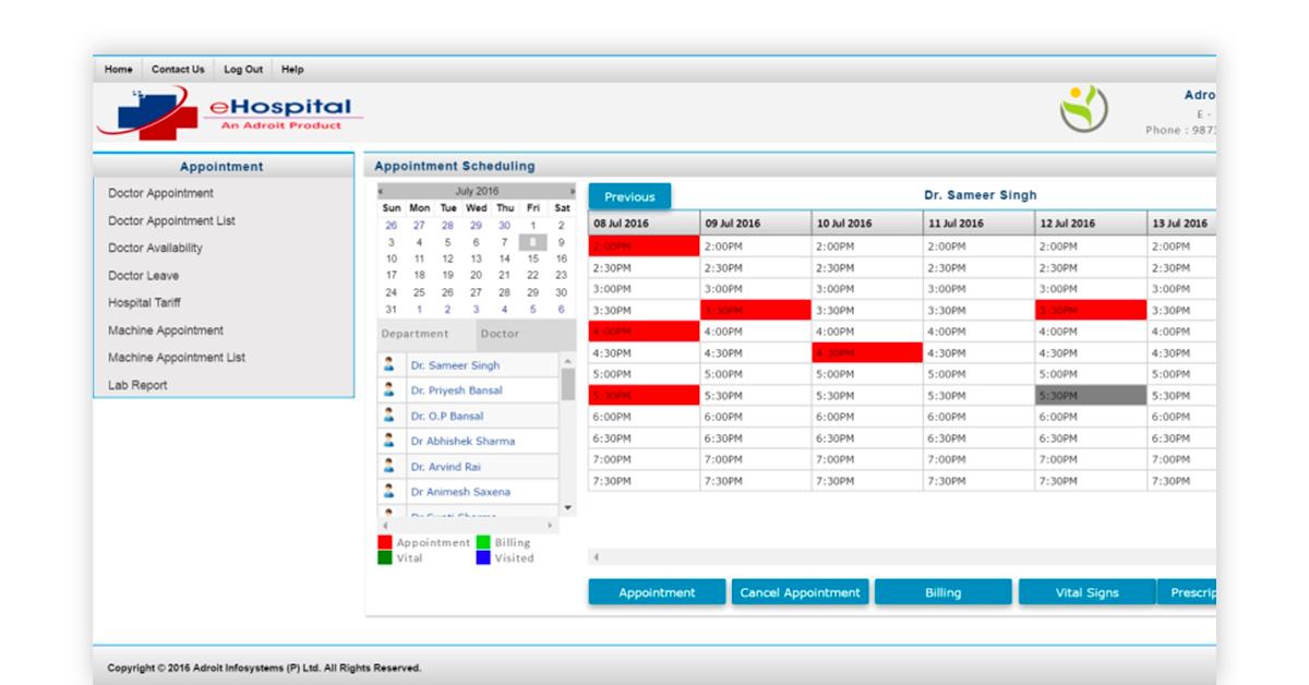 eHospital hospital database management system Image