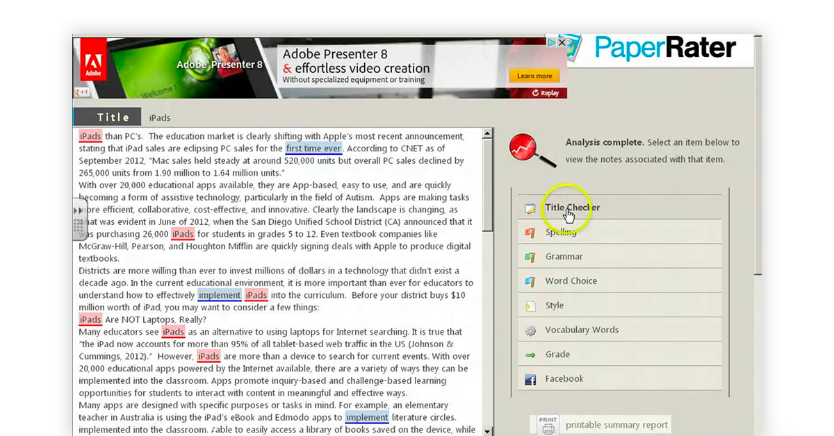 PaperRater plagiarism