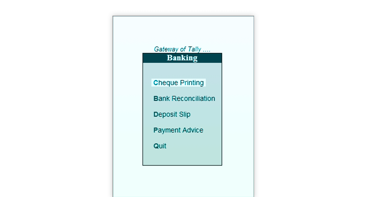 Bank reconciliation in Tally ERP 9