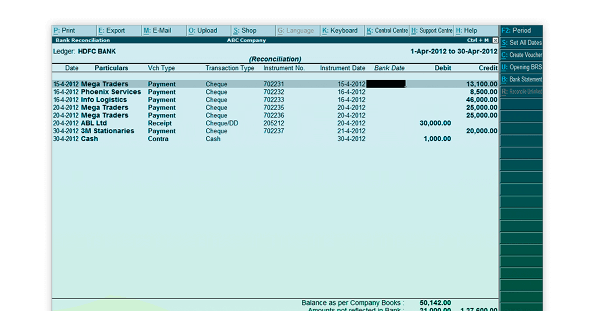 Bank reconciliation in Tally ERP 9 in Hindi