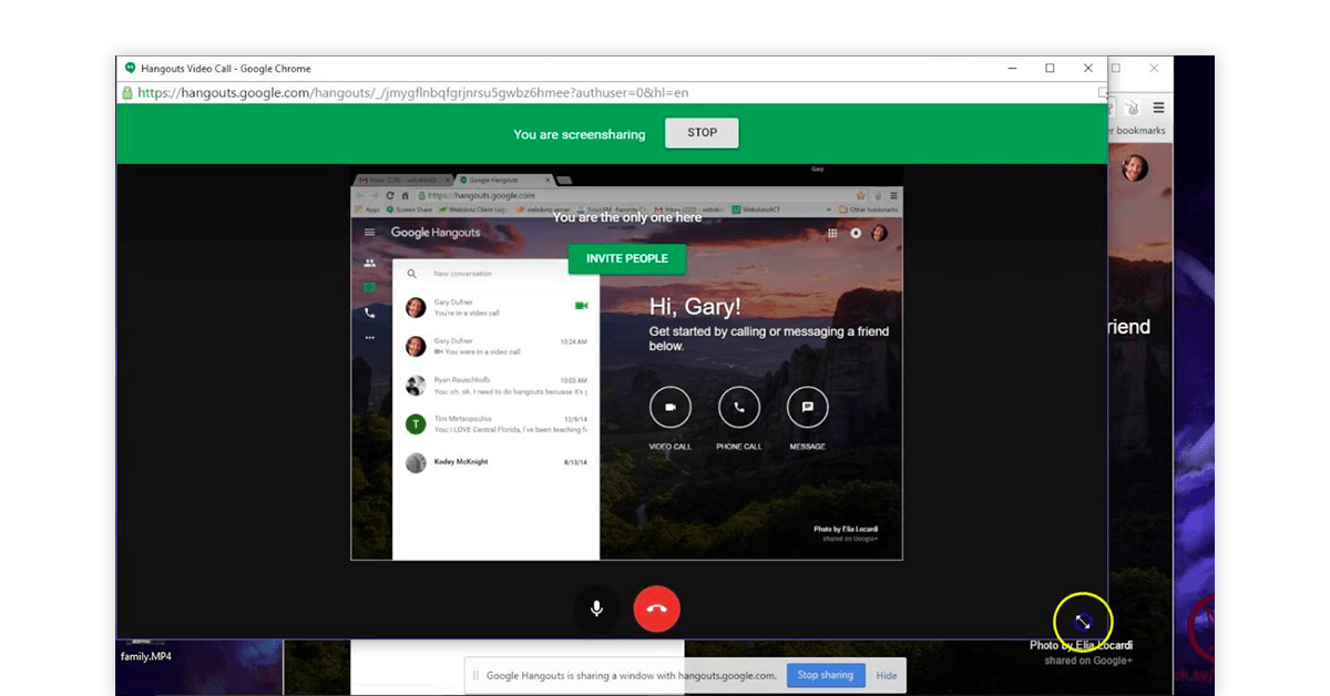 Google Hangouts screensharing app