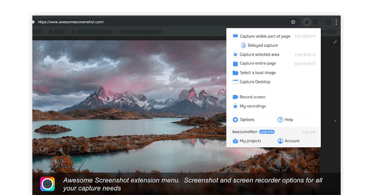 Chrome full page screenshot