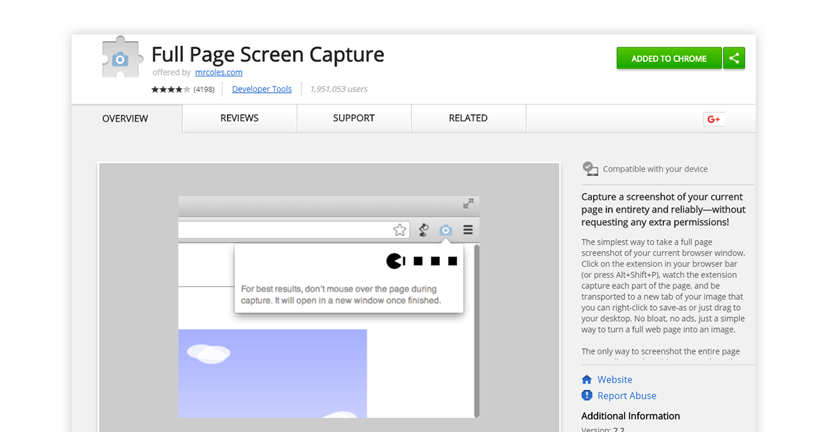 Scrollable screenshot chrome