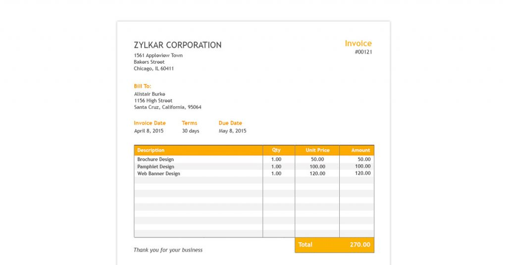 Zoho Invoice Template for Excel