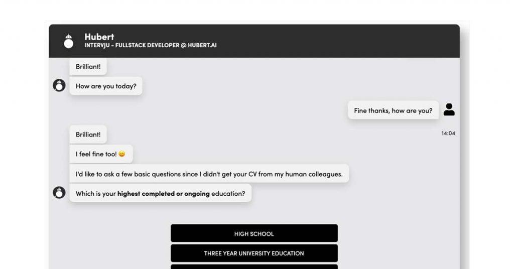 Hubert online resume screening software