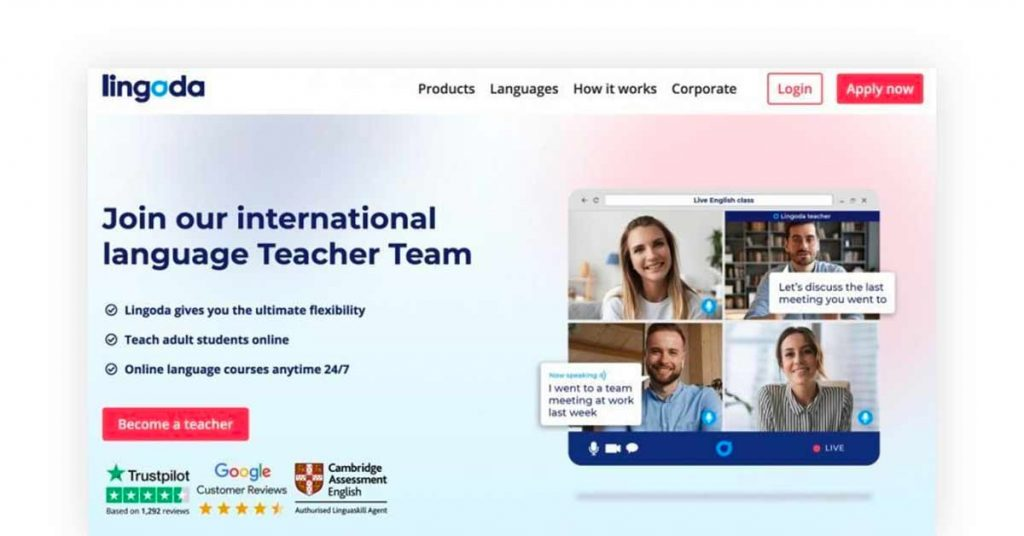 Lingoda best online tutoring platform