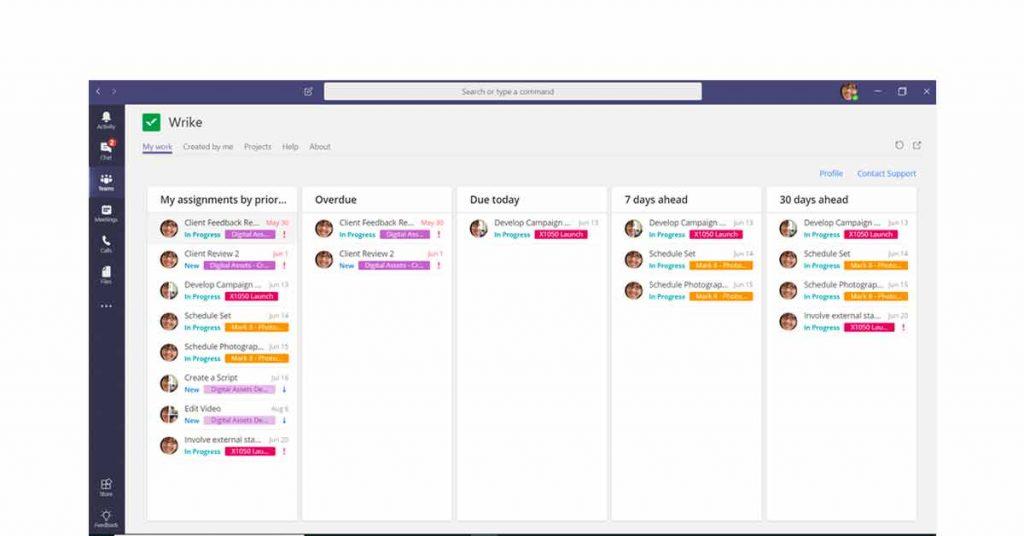 Wrike work schedule planner