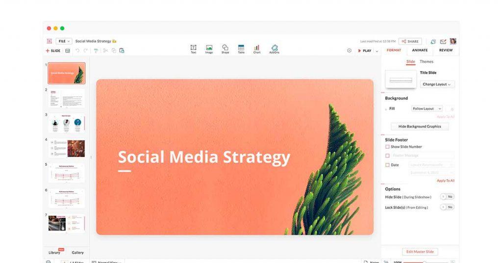 Zoho Show presentation tool