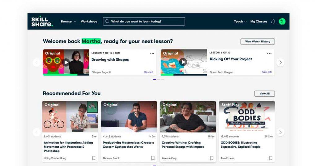 skillshare   online platform for teaching